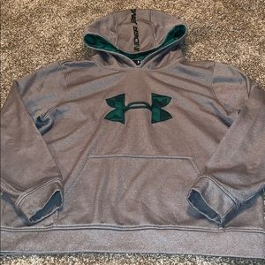 Under armour gray hoodie green logo